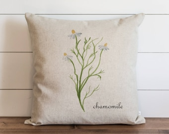 Botanical Chamomile 20 x 20 Pillow Cover // Everyday // Herbs // Gift // Accent Pillow