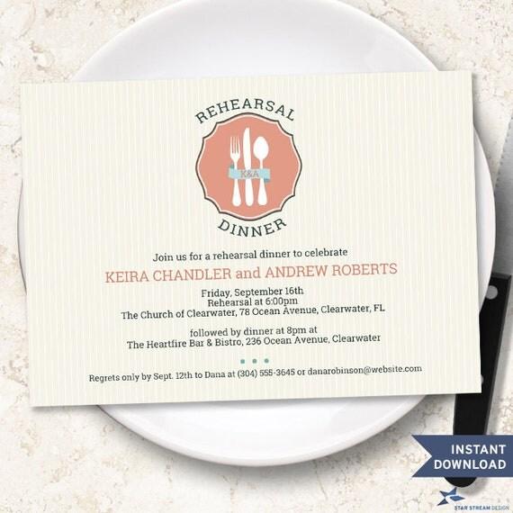 Pinstripe Classic Cutlery Rehearsal Dinner Invitation Template