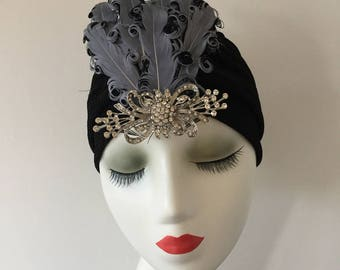 Detachable Feather Hair Clip Turban Headband Hat Vintage Flapper 1920s Headpiece