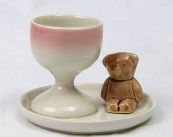 Vintage Childs Teddy Bear Ceramic Egg Cup and Plate Handcrafted
