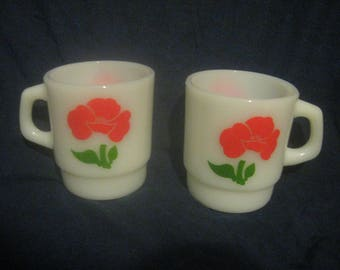 2 FIRE KING Red Poppy MUGS Stackable