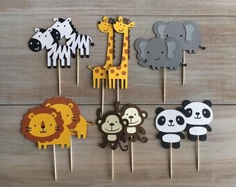 Safari Cupcake Toppers. Zoo Cupcake Toppers. Safari Party.