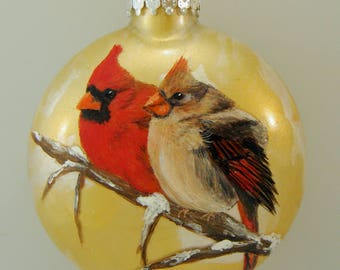 Hand Painted Glass Ornament - Cardinal Pair