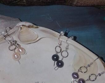 Stainless steel pearl dangle earrings