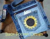 Yellow Sunflower Quilted Waistband Pocket Hip Purse made with recycled denim
