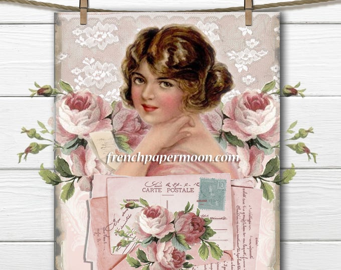 Digital Shabby Victorian Lady, Pink Roses, Carte Postale, French Pillow Transfer Image, Large Image, Download