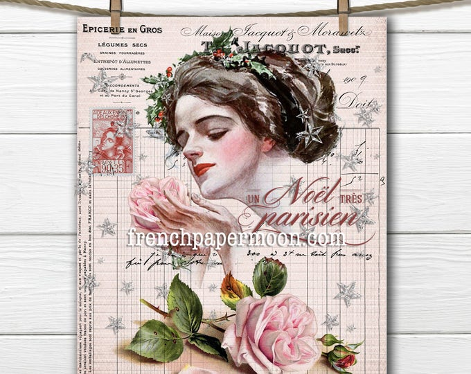 Shabby Pink Christmas, Vintage Lady, Harrison Fisher, Digital Image, French Pillow, Christmas Crafts, Large Size