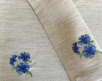 Linen Fabric Placemats Set 2 Embroidered Placemats Cornflower Embroidery