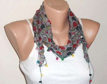 gray scarf  beads cotton scarf yemeni scarf trendy scarf fashion accessories birthday gift for her
