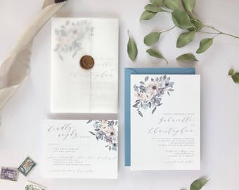 Dusty Blue and Lavender Floral Wedding Invitation
