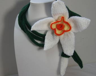 Hand Knit Flower  Scarf Crochet Necklace Gift Ideas for Her Lariat Necklace Knitted Scarf