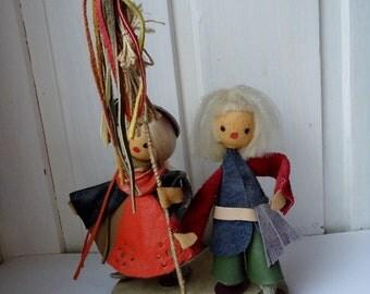 VINTAGE Folk Art Couple, leather figurine, dolls