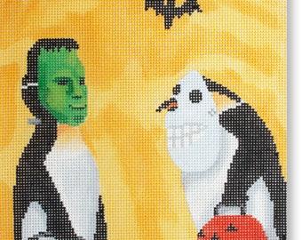 Needlepoint Handpainted Halloween SCOTT CHURCH Penguin Halloween 8x12 -Free US Shipping!!!