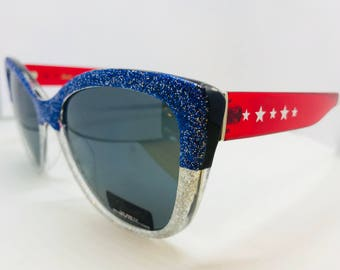 4th of July Sunglasses/Independence Day/Red White and Blue Sunglasses/Glitter Sunglasses