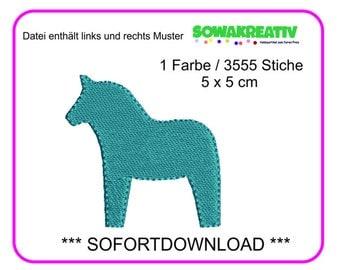 Embroidery file dala horse 5 x 5 cm - SOFORTDOWNLOAD