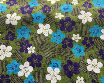 """Vintage 60s 70s Lg Floral Printed Linen Canvas Fabric  // 112x44"""" > decorator weight > groovy abstract flowers"""