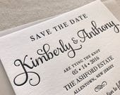 The Ashford Suite - Letterpress Wedding Save the Date - Grey, White, Blush, Pink, Modern, Traditional, Simple, Invitation, Classic, Script