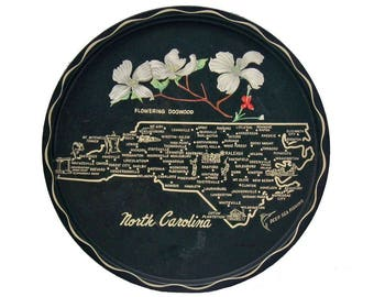 North Carolina State Souvenir Serving Tray Vintage Metal Toleware Dogwoods