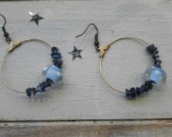 Bohemian earrings, Lampwork, ethnic, blue and bronze Pearl