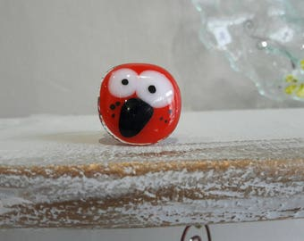 Glass fusing red hen, support copper, Adjustable ring