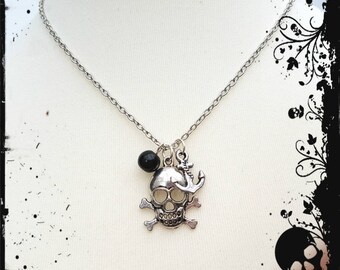 Pirate necklace, skull and crossbones and anchor silver charms with black bead