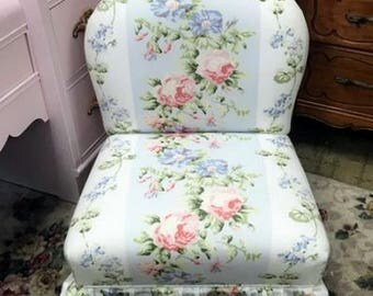 Child size chair upholstered floral slip chair