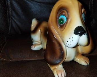Vintage Porcelain Dog Figurine W/Glass Eyes