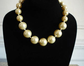 Vintage Graduated Knotted Ivory Faux Pearl Beaded Necklace Wedding Bridal