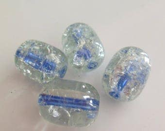 set of 4 olive Crackle glass beads