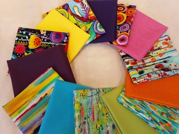 Fat Quarter Quilt Fabric Bundle of 7 Bright Digital Prints and 7 Colorful Blenders From P & B Textiles, Moda and Clothworks American Made