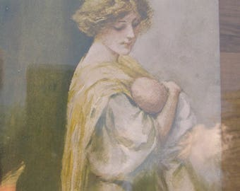 Mother and child large wall hanging; Art deco framed drawing;