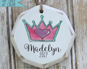 personalized tiara with heart ornament,  Christmas ornaments, custom ornaments, ornament exchange, gift for her