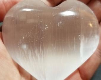 Large Selenite Heart Shaped Palm Stone