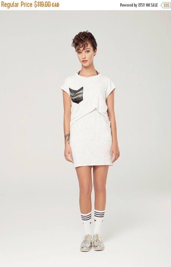 SOLDE HÉMISPHÈRe - conscious tunic with oversize look, tied to the neck, with pockets for women - textured white