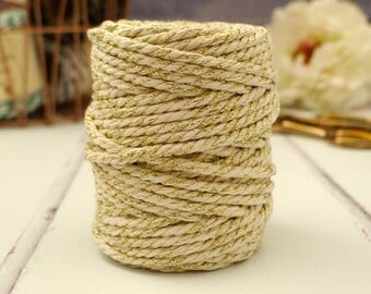 Gold Sparkle Chunky Ivory Baker's Twine 20m - Cream & Gold Baker's Twine - Wedding Twine - Everlasto Baker's Twine