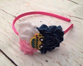 School Shabby Chic Headband, , School Bus, Back to School Headband, Flower Headband, Girl headband, School Accessories