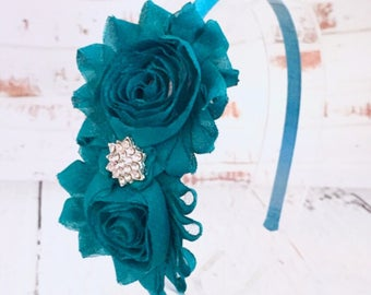 Teal Flower Headband, Teal Shabby Chic Headband Flower Girl Headband, Wedding Headband, Hair Accessories