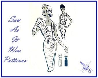 "1950s FF Unused Patt-O-Rama Pattern 1288 Sheath Sleeveless Dress Midriff Shoulder Drapes Vintage Sewing Pattern Size 14 Bust 36"" 92cm"