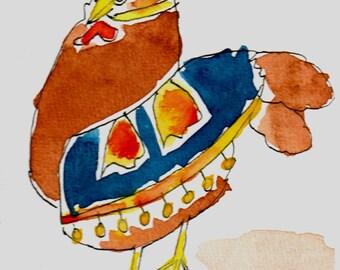 Gypsy chick. Original  watercolor sketch.