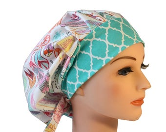 Medical Scrub Cap Surgical Hat SATIN LINED Bouffant  Feathers Pink Teal Orange2nd Item Ships FREE