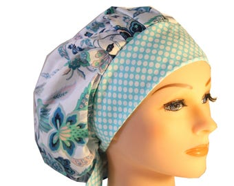 Scrub Cap Surgical Hat Chef  Dentist Hat Tie Back Bouffant Denim Blue Floral Dots 2nd Item Ships FREE