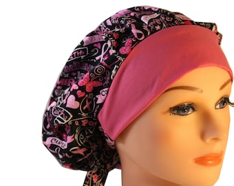Scrub Cap Surgical Hat Chef   Dentist Hat Tie Back Bouffant Black Pink Ribbon Cancer Awareness 2nd Item Ships FREE