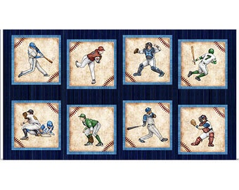 """Baseball Panel Fabric by Dan Morris for Quilting Treasures Baseball Cards Game Sports - 100% Quality Cotton Panel 23""""x44"""""""