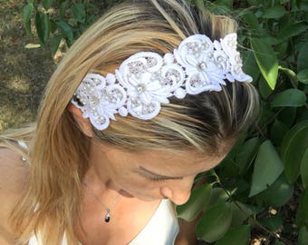 wedding headband, bridal tiara, ivory head piece, pearl and rhinestone halo, brides accessories, gift for her, hair flowers