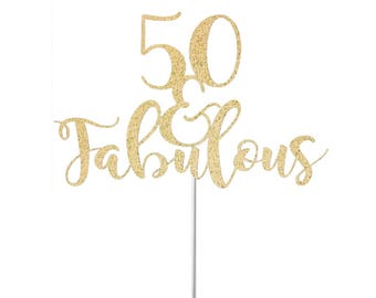 Personalised 50 Fabulous Cake Topper 50th Birthday Cake Topper