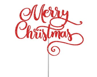 Merry Christmas Cake Topper Holiday Party Decor Christmas Table Decor Holidays Cake Topper Xmas Party Decor Merry Christmas Cake Topper