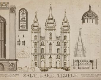 Salt Lake City Temple Blueprints - 1856 Art Drawings of Salt Lake Temple from Zions Mercantile in Nauvoo Mormon Art LDS Print
