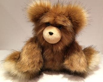 Handmade Faux Fur Teddy Bear, Artist Bear, Stuffed Bear, Christmas Gift, Birthday Gift, Willie, the Golden and Ivory Coyote Fake Fur Teddy