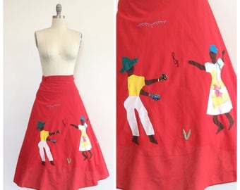 70s Red Cotton Novelty Print Wrap Skirt / 1970s Vintage Boho Skirt / Adjustable / One Size Fits Most