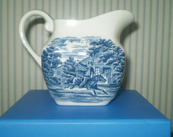 Paul Revere Pitcher- Liberty Blue decorated pitcher- midnight ride of Paul Revere on creamer- small pitcher in blue and white- Colonial